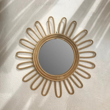 Small Sunflower Rattan Mirror