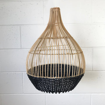 Small Black and Natural Strip Rattan Pendant