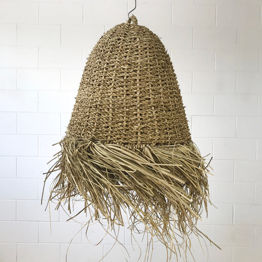 Small Natural Seagrass Fringe Pendant
