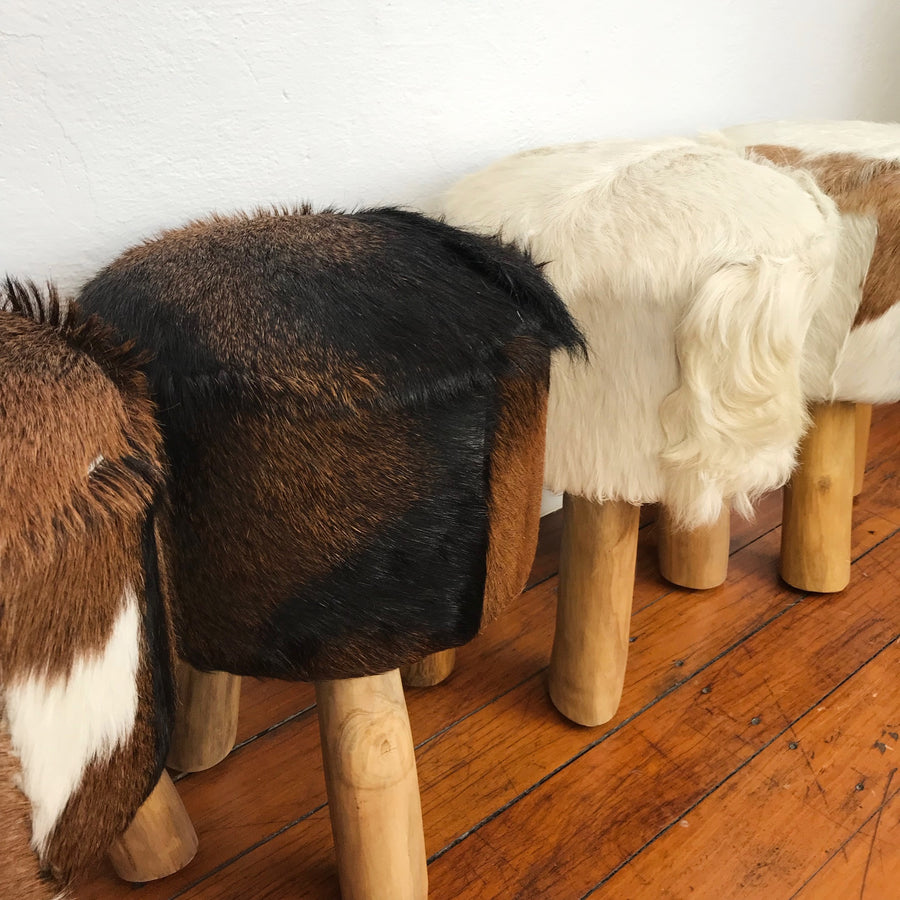Small Round Goat Hide Foot Stool