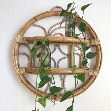 Small Round Rattan Shelf