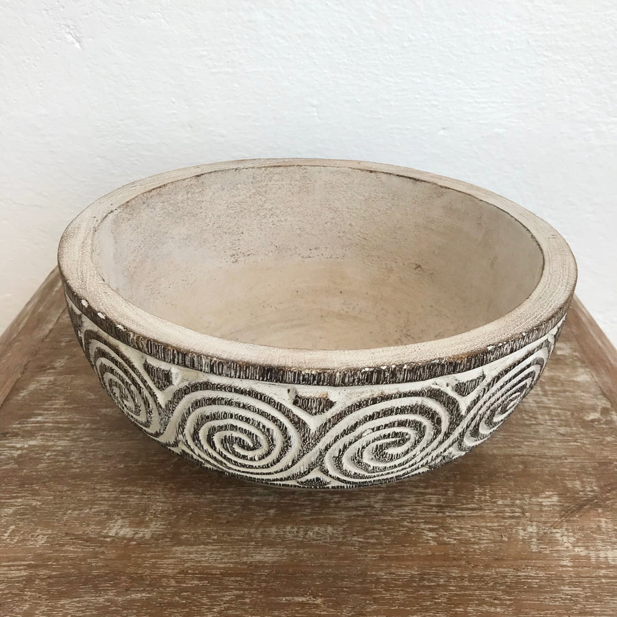 Small Tribal Carved Swirl Coconut Bowl