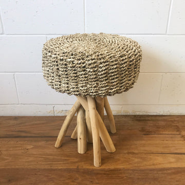 Small Wild Round Natural Woven Stool
