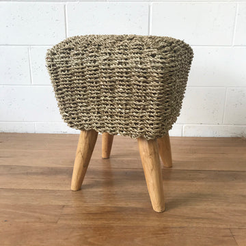 Small Square Natural Woven Stool
