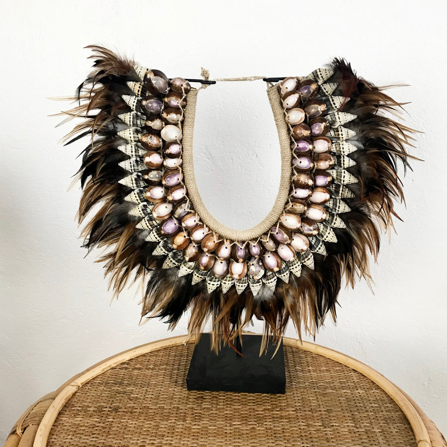 Tan Feather and Shell Necklace