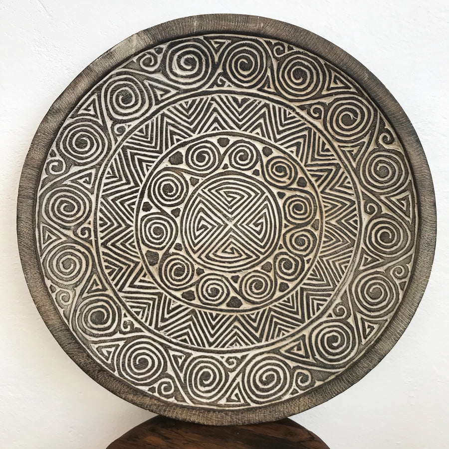 Tribal Carved Coconut Plate