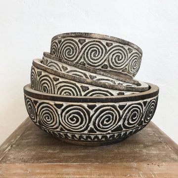 Tribal Carved Swirl Coconut Timber Bowl