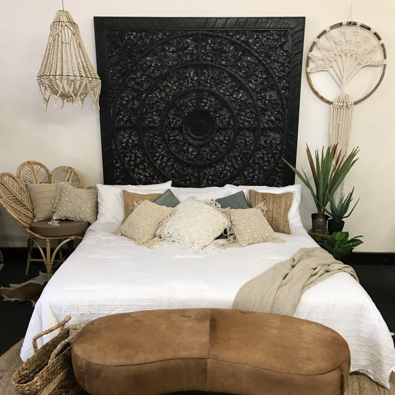 Black Vine Mandela Timber Carved King Size Headboard | Chozen Collective