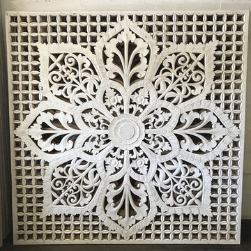 White Blossomed Flower Carved Bedhead | King Size
