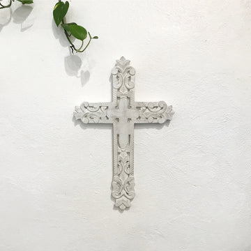 White Carved Timber Cross