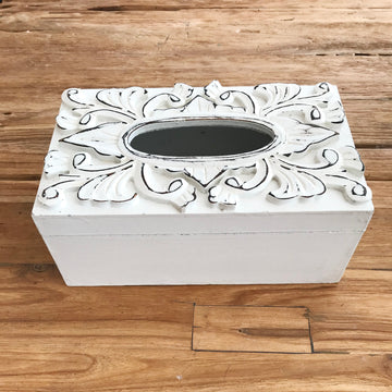 Carved White Tissue Box Cover