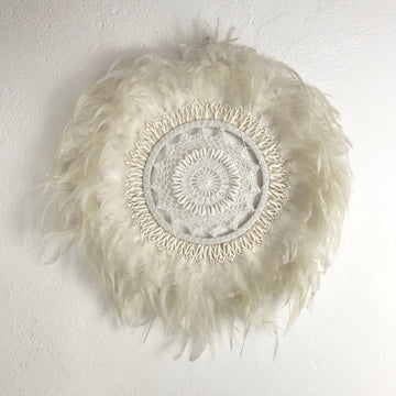 White Bohemian Feather Juju with Shells and Macrame