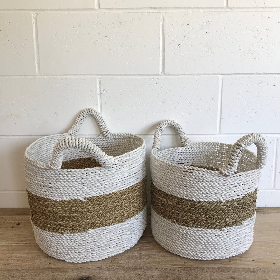 Small Woven Natural + White Stripe Basket