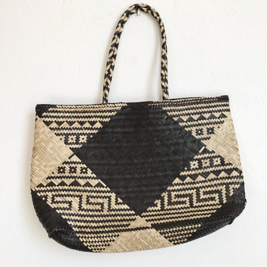 Woven Tribal Check Market Bag