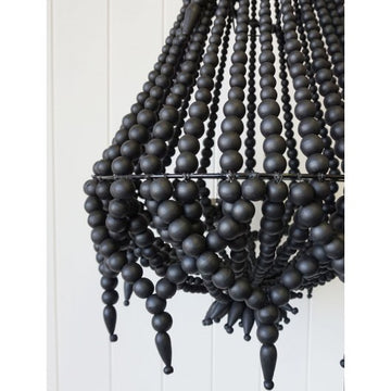 Black Beaded Chandelier Bohemian Hamptons