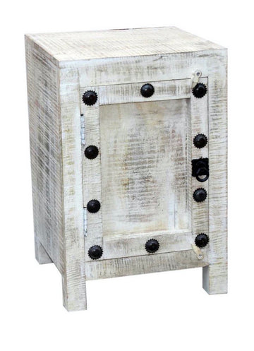 Indian White Wash Bedside Cabinet #001