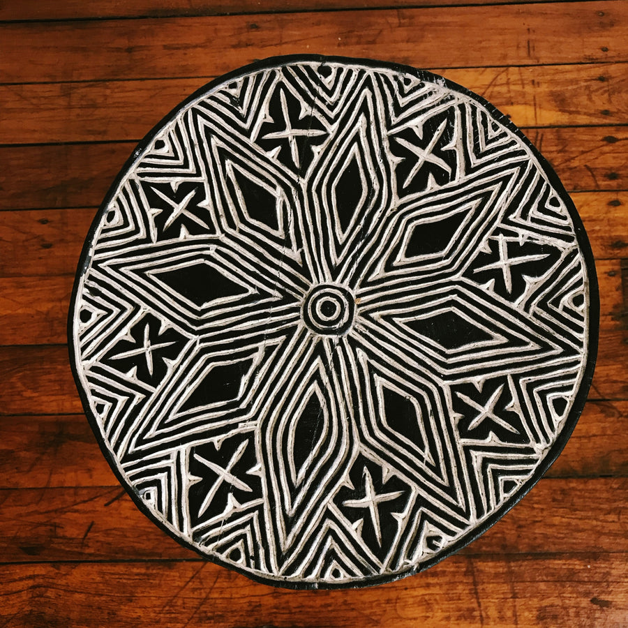 Tribal Carved Palm Stool
