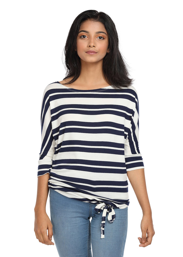 Striped Knit Top with a Knot Navy & White Boat Neck - GENZEE