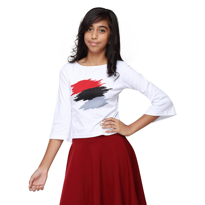 Bell sleeves white crop top with abstract print in Red colour