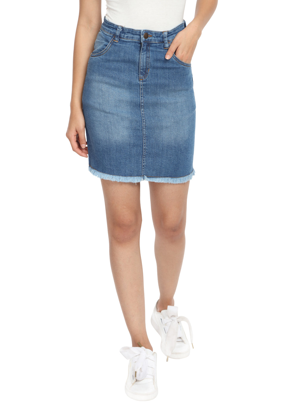 Denim Skirt with Raw Hem - GENZEE