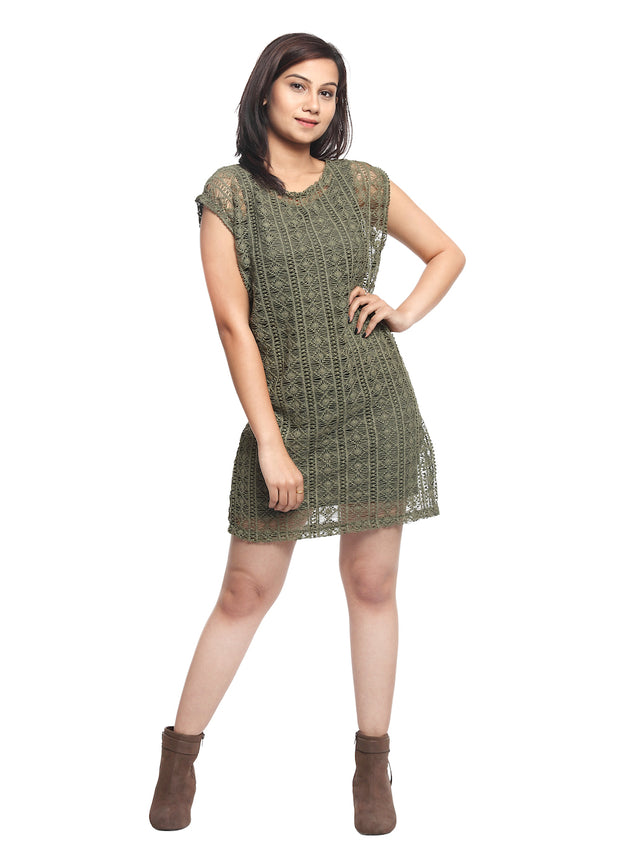 Olive Net Overlay Dress - GENZEE