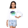 Bell sleeves white crop top with abstract print in blue colour