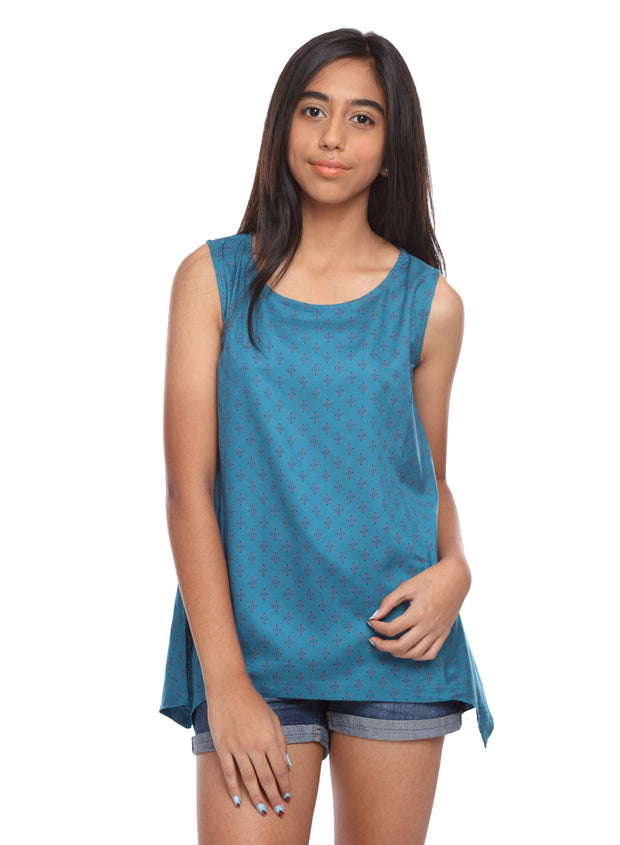 Turquoise Sleeveless Rayon Up & Down Hem Top - GENZEE