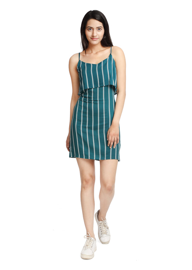 Striped Teal and White Dress