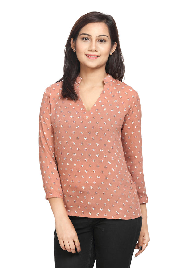 Printed Nude Colour Long Top - GENZEE