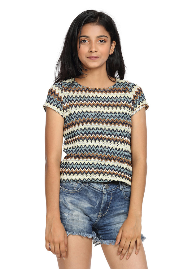 Net Round Neck Cap Sleeves Multicolor Crop Top - GENZEE