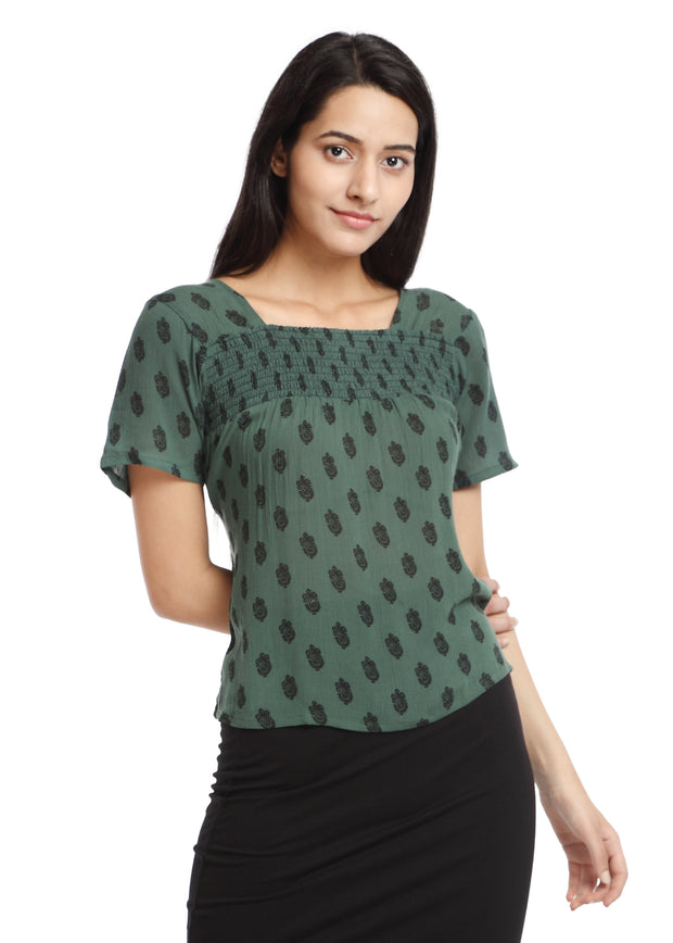 Green Smocking Top