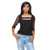 Black Knit Crop Top with Net Sleeves - GENZEE