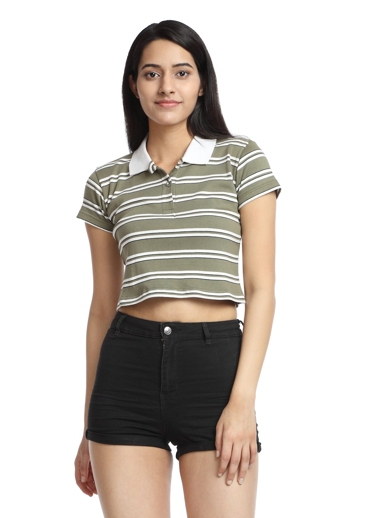 Crop Polo T-shirt green&white striped