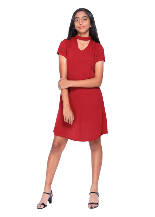 Maroon Red Choker Neck dress - GENZEE