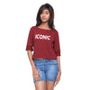 Maroon Knit Crop Tee   (Iconic) - GENZEE