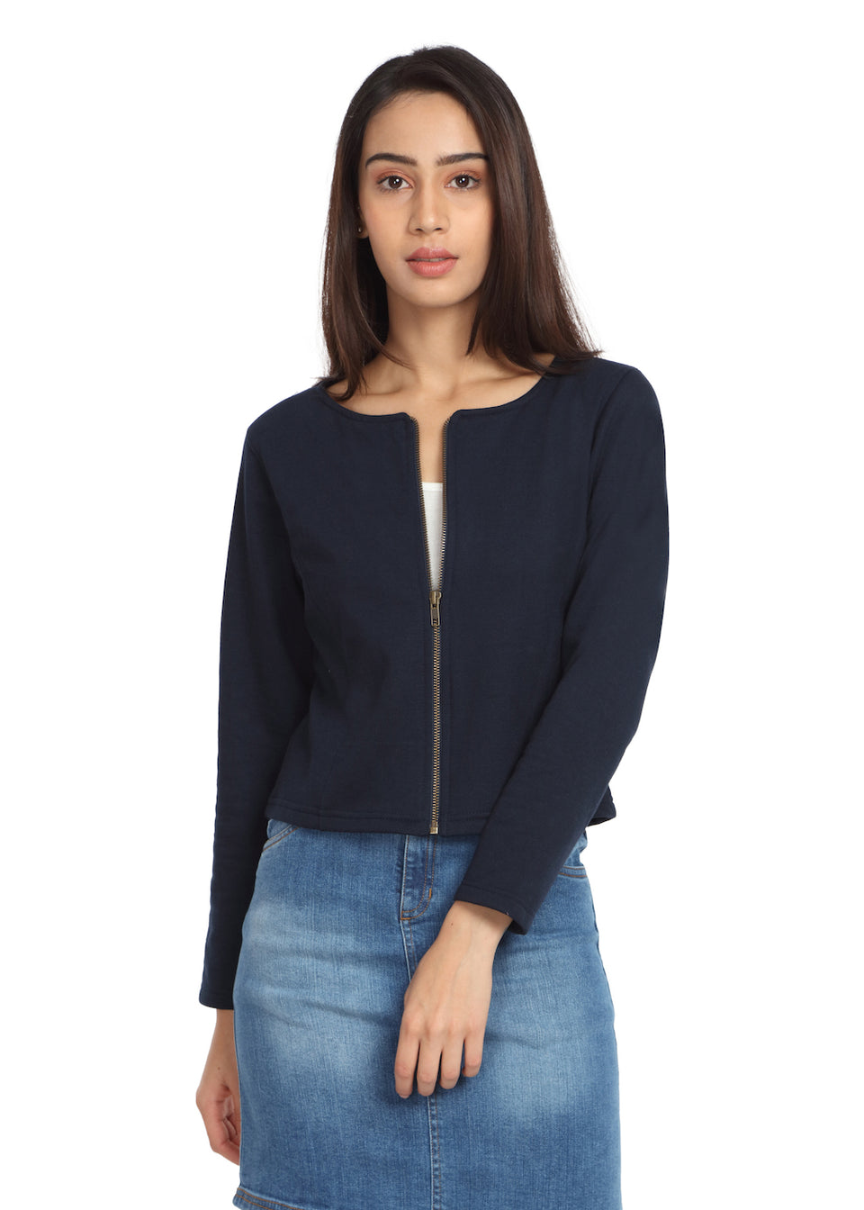 Short Knit Jacket Navy - GENZEE