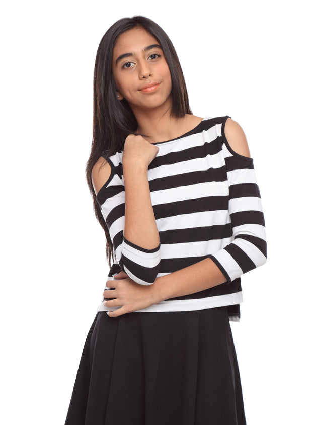 Black and White Striped Cold shoulder Top