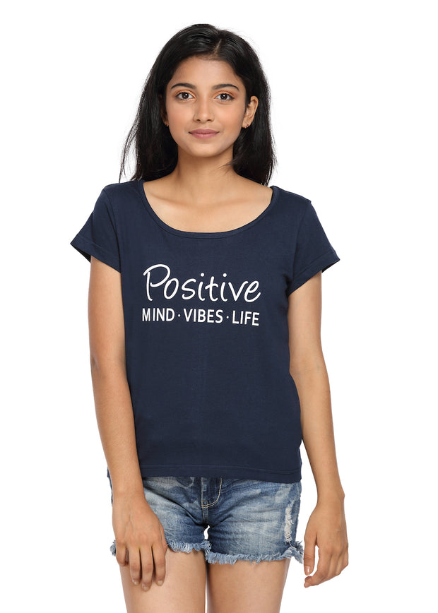 Printed T-shirt Navy Blue Color with Positive Life Print - GENZEE