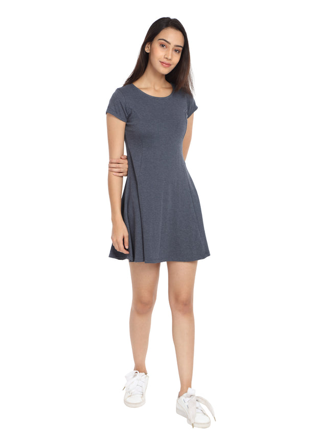 Melange Navy Short Knit Dress - GENZEE