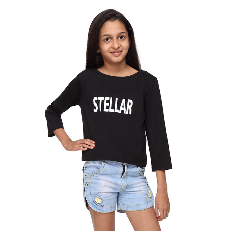 Black Knit Crop Top with Print