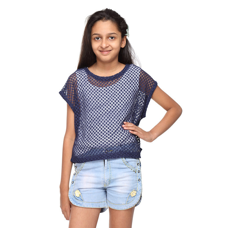 Blue Net Top for girls