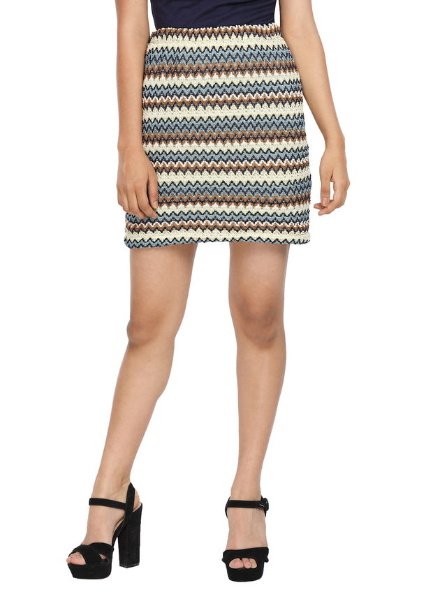 Net Multicolor Tube Skirt with Lycra Lining - GENZEE