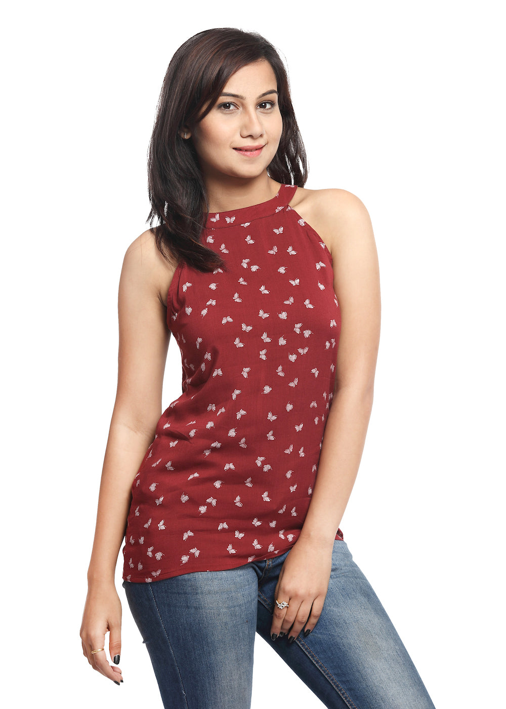 Maroon Halter Neck Top with Butterfly Print - GENZEE
