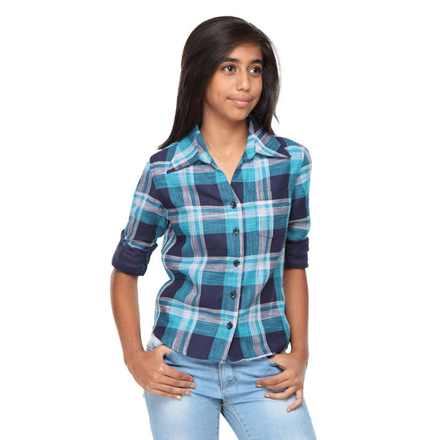 Turquoise Blue Check Shirt - GENZEE