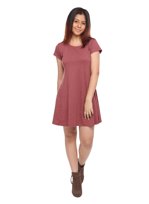 Maroon Short Knit Dress - GENZEE