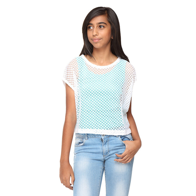 White Cotton Net Overlay Crop Top - GENZEE
