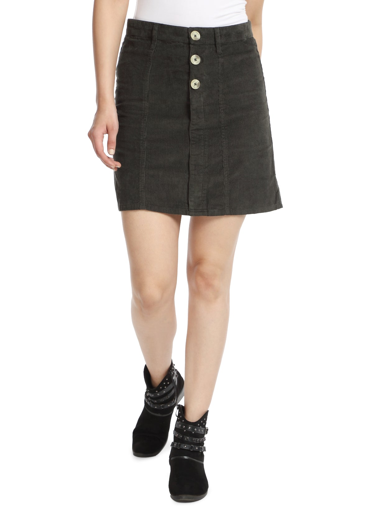 Military Green Corduroy Skirt