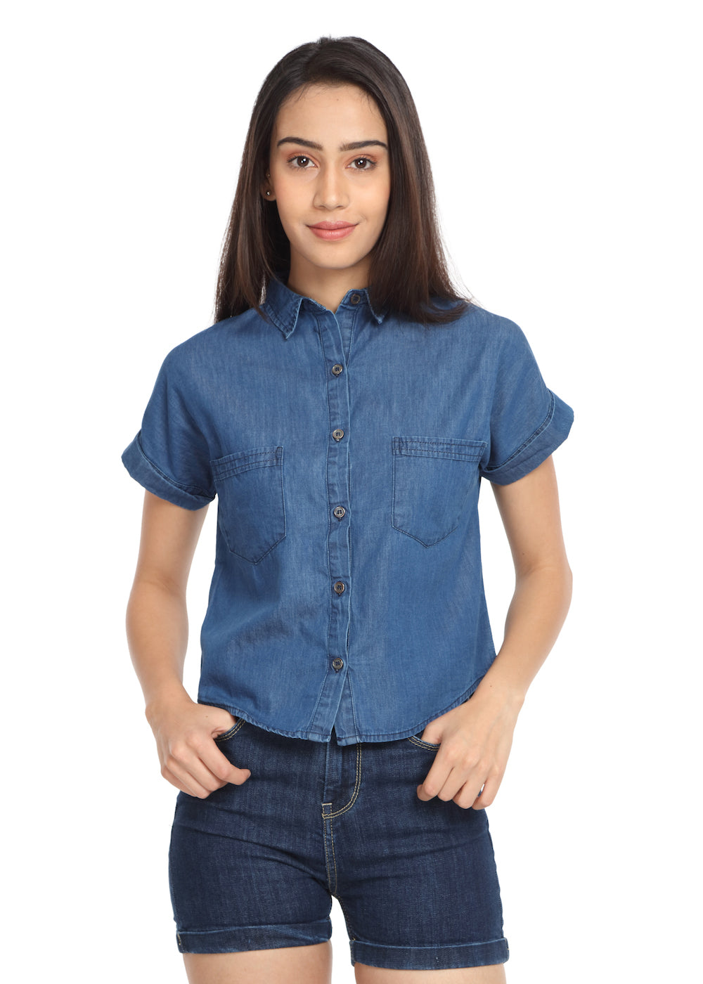 Denim Crop Shirt - GENZEE