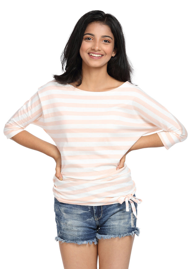 Striped Top with a Knot Peach & White Boat Neck - GENZEE