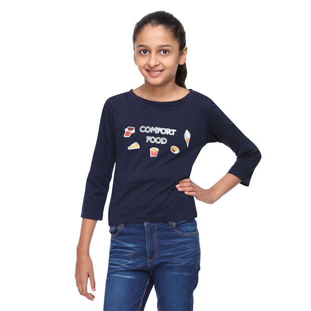 Navy Bue Crop Tee with Comfort Food Print - GENZEE